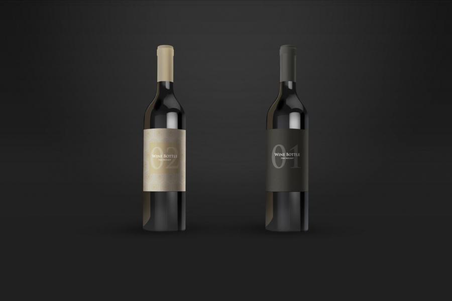 2 Wine Bottles Free Mockup (PSD)