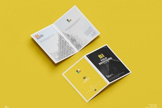 A4 Bi-Fold Brochure Free Mockup (PSD)