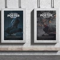 Advertising Display Glued Paper Posters Free Mockup