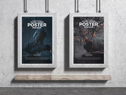 Advertising Display Glued Paper Posters Free Mockup