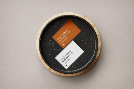 Business Card in Wooden Bowl Free Mockup