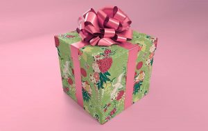 Christmas Gift Box with ribbon Free Mockup