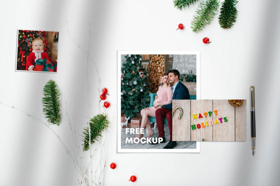 Christmas Photo Frame & Cards Kit Free Mockup