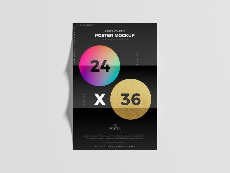 Folded 24×36 Poster Free Mockup (PSD)