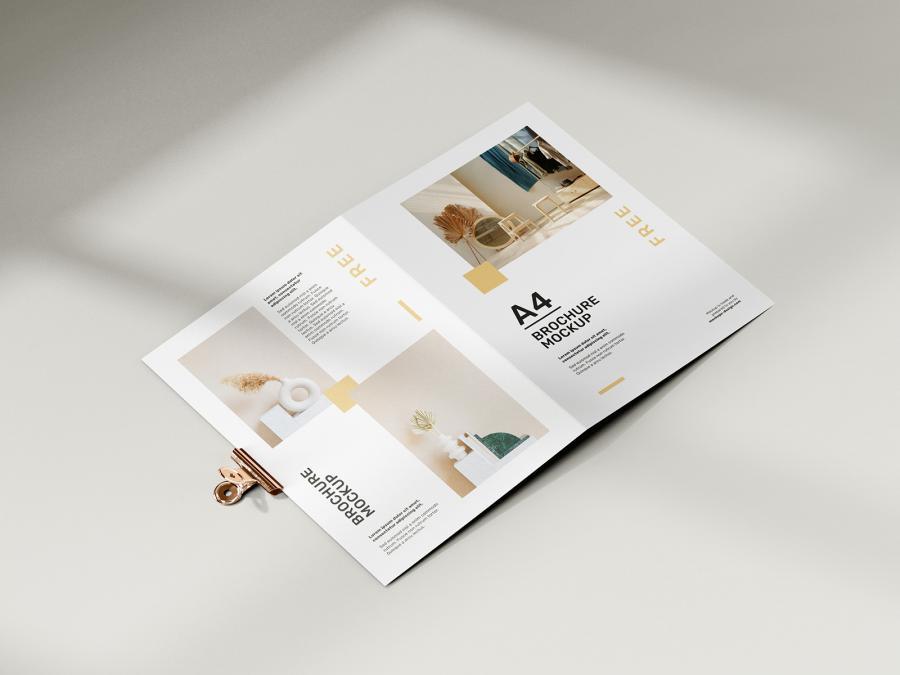 Folded A4 Brochure Free Mockup (PSD)