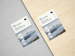 Free A5 Flyer Set Mockup (PSD)