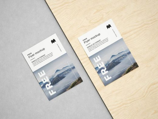 Free A5 Flyer Set Mockup (PSD)