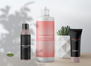 Free Cosmetic Bottles Packaging Mockup (PSD)