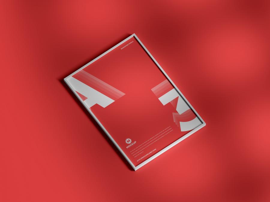 Free Elegant Framed Poster Mockup (PSD)