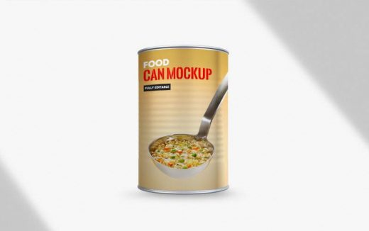 Free Food Can Mockup (PSD)