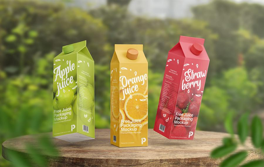 Free Juice Packaging Mockup (PSD)