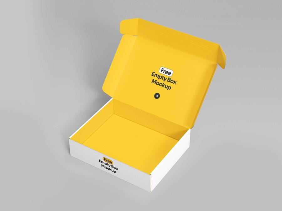 Free Open Empty Box Mockup (PSD)