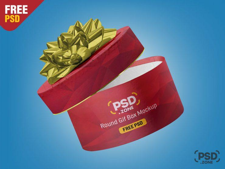 Free Round Gift Box Mockup (PSD)