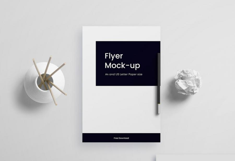 Free Top View Clean Flyer Mockup