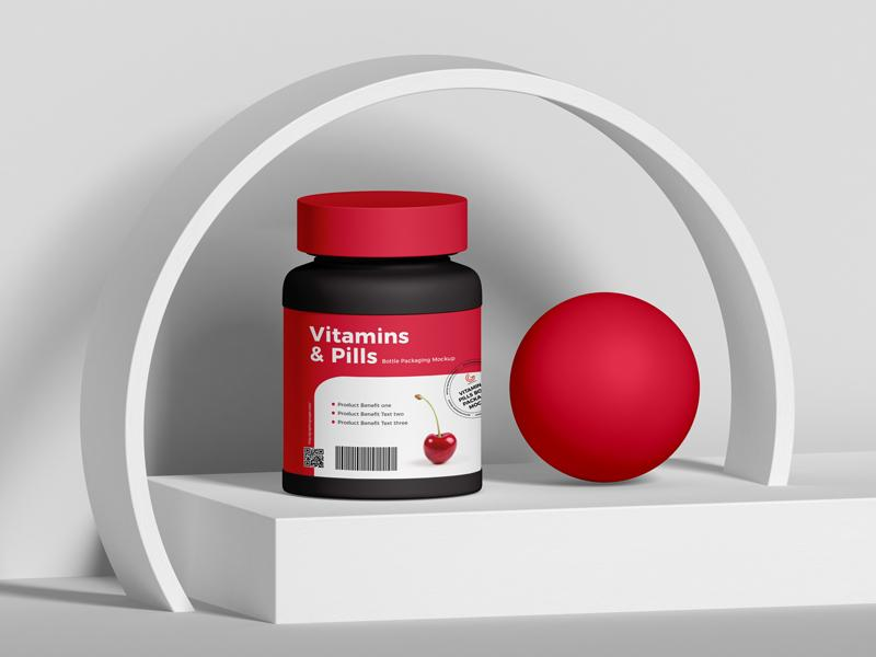 Free Vitamins And Pills Bottle Packaging Mockup