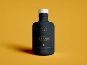 Free Wooden Lid Product Ceramic Bottle Mockup