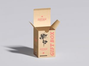 Kraft Tuck Top Gift Box Free Mockup (PSD)
