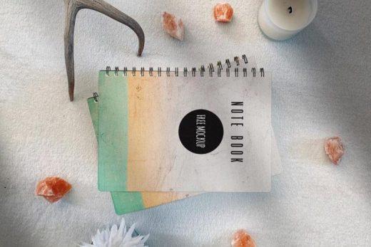 Note Book Scene Kit Free Mockup (PSD)