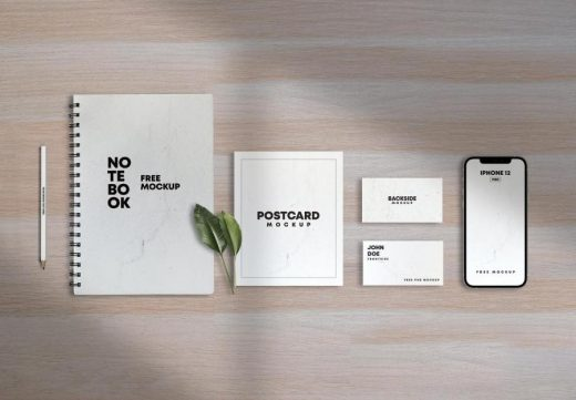Notebook with Papers & iPhone 12 Free Mockup