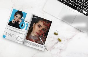Open Magazine on Desk Free Mockup (PSD)