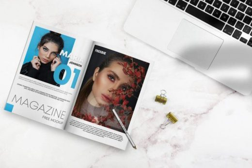Open Magazine on Desk Free Mockup (PSD)
