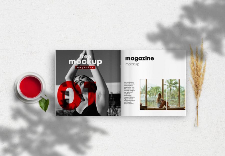 Opened Square Magazine Free Mockup (PSD)