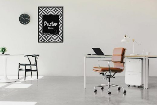 Poster Frame in Office Free Mockup (PSD)