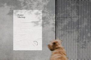 Realistic Glued Wall Poster Free Mockup