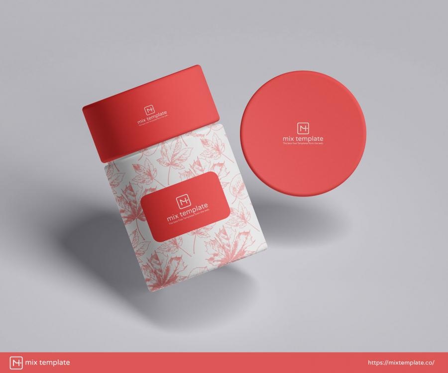 Round Packaging Paper Tube Free Mockup (PSD)