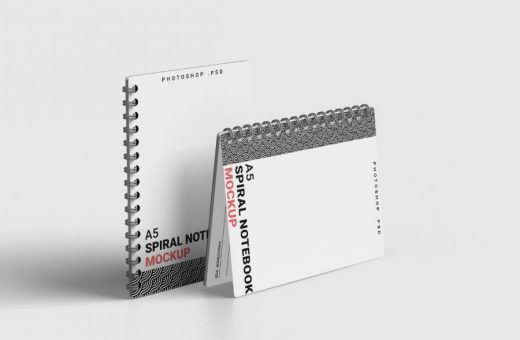 Spiral A5 Notebook Free Mockup (PSD)