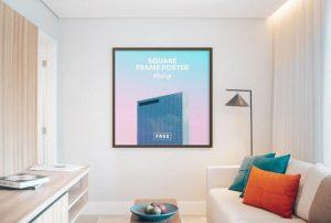Square Poster Frame on Room Free Mockup (PSD)