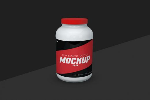 Supplement Bottle Free Mockup (PSD)