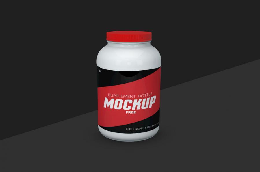 Supplement Bottle Free Mockup (PSD)
