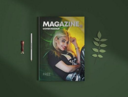 Top View Magazine Cover Free Mockup (PSD)