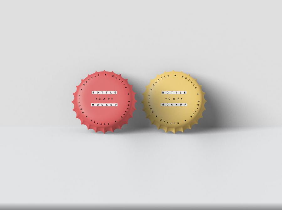 Two Bottle Cap Mockups (PSD)