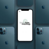 Pacific Blue iPhone 12 Pro Max Free Mockup