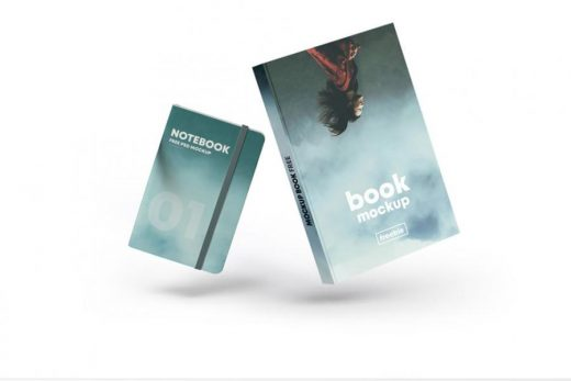 Free Floating Book Cover & Notebook Mockup (PSD)