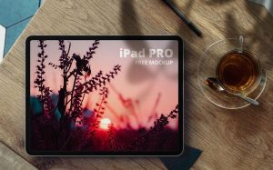 iPad Pro in Desk Free Mockup (PSD)