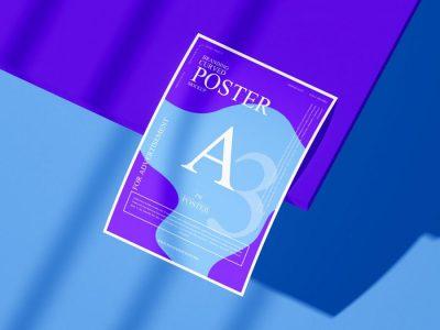 Brand Presentation A3 Curved Poster Free Mockup