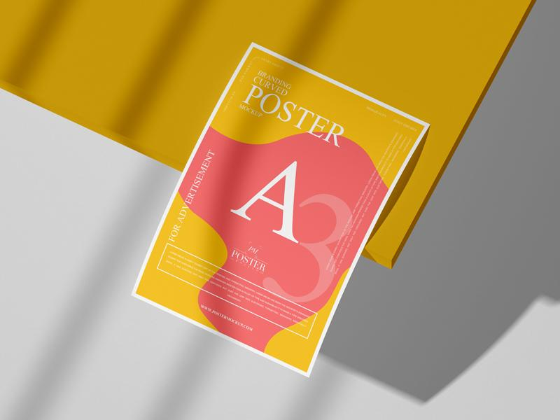 Branding A3 Curved Poster Mockup (PSD)