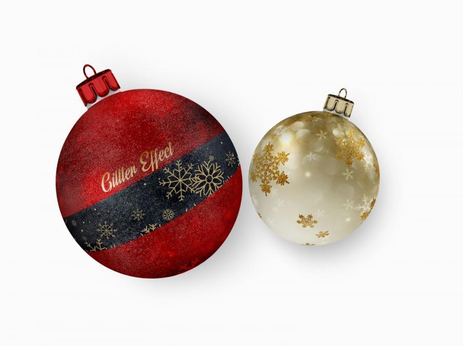 Christmas Ball Ornaments Free Mockup (PSD)