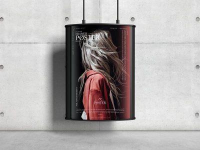 Curved Framed Poster Mockup (PSD)