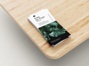 DL Flyer on Wooden Table Free Mockup Set