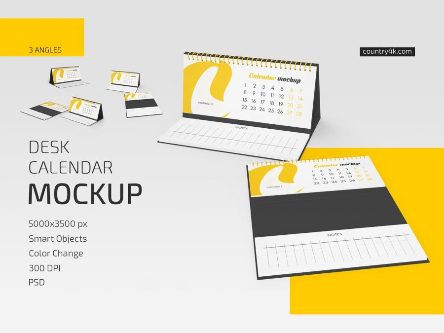 Desk Calendar Free Mockup Set