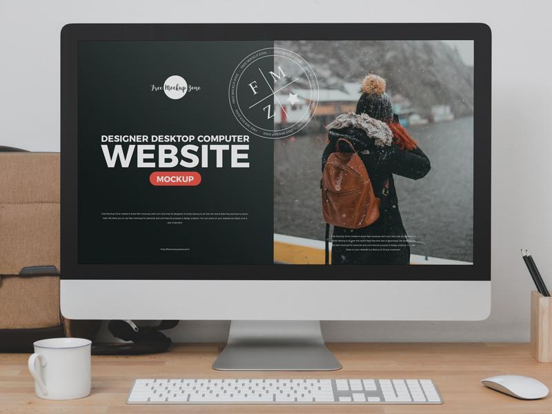 Desktop Computer Website Free Mockup (PSD)
