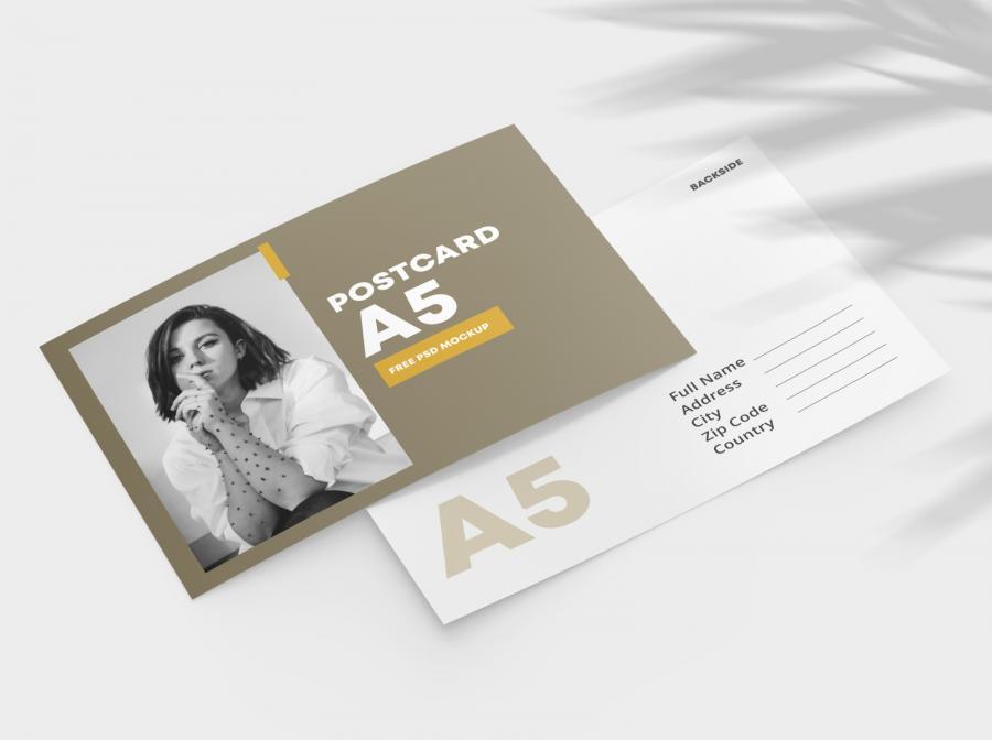 Double Sided Postcard Free Mockup (PSD)