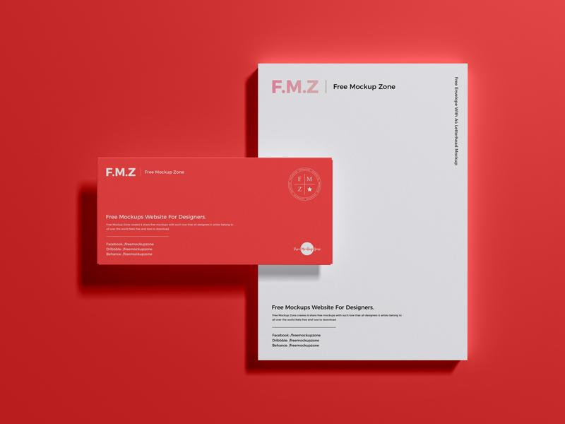 Envelope With A4 Letterhead Free Mockup (PSD)