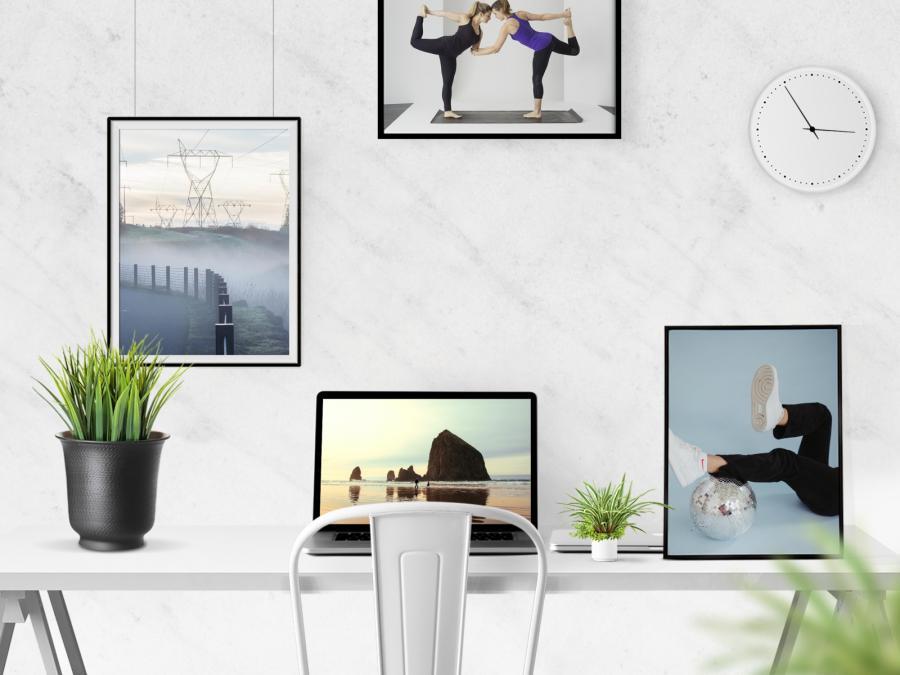 Free Desk Scene Creator Free Mockup