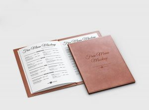 Free Leather Menu Mockup (PSD)