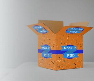 Free Open Cardboard Box Mockup (PSD)